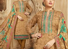 Punjabi Churidar Suit With High Neck Chinese Collar & Full Sleeves