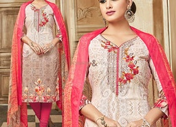 Cream Digital Printed Punjabi Salwar Kameez For Girls With V-Neck