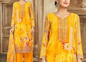 Yellow Palazzo Style Salwar Suit A- Shape Designer Punjabi Outfit
