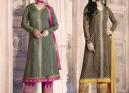 Brown Printed A Line Suit In Georgette With Embroidery For Sangeet