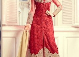 BEIGE AND RED EMBROIDERED WORK PANT STYLE DESIGNER SALWAR KAMEEZ