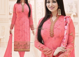 Inspiring Peach Stone Worked Ayesha Takia Bollywood Style Dress