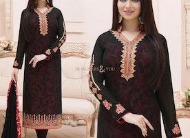 Black Embroidered Heroine Dress Worn By Ayesha Takia In Georgette