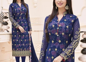 Intimidating Blue Lace Worked Bollywood Suit With Stand Collar