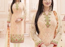 Irresistible Cream Celebrity Style Suit With Floral Embroidery
