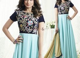Heartening Blue-Turquoise Ethnic Wear Model Heroin Jennifer Winget