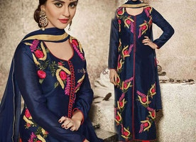 Krystle D'Souza's Appealing Blue Bollywood Embroidered Dress