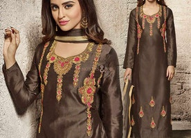 Dark Brown Celebrity Krystle D'Souza's Full Sleeved Karachi Dress
