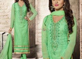 Green Bollywood Fashion Krystle D'Souza's Designer Georgette Suit