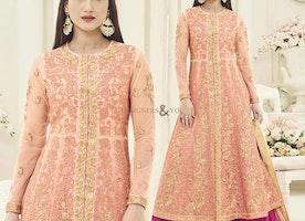 Embroidered Peach Bollywood Designer Dress Worn By Gauhar Khan