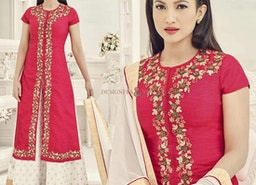 Red Indo Western Function Suit Preferred By Heroine Gauhar Khan