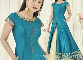 Celebrity Gauhar Khans Admired Embroidered Blue Indo Western Dress