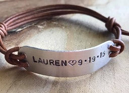 Custom leather adjustable bracelet
