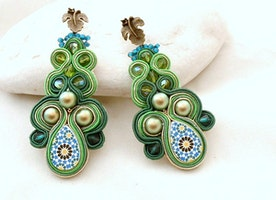 pearls leaf long soutache earrings , swarovski oriental jewellery , lux gift for sister birthday , emerald bridal style , bohemian ceremony