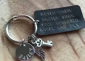 Personalized guardian angel keychain
