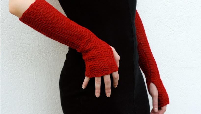 Merino Arm Warmers Mittens Knitted Fingerless Gloves