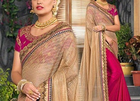 Fine-Looking Latest Contrast Pink Beige Party Saree With Blouse