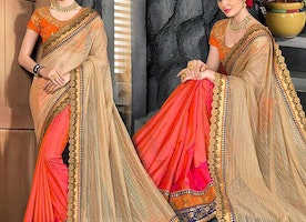 Graceful Completely Contrast Mehendi Orange Designer Half Sari