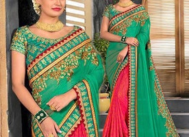 Impressive Bordered Mehendi Green Pink Art Silk Chiffon Saree