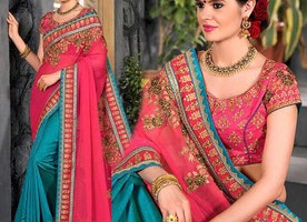 Interesting Mix N Match Pink Blue Saree With Blouse For Reception