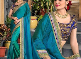 Irreplaceable Mehendi Blue Green Broad Moti Laced Designer Saree