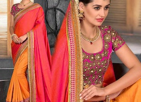 Marvelous Pink Orange Yellow Decorated Sari For Sangeet Function