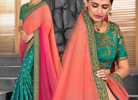 Trendiest Scoop Necked Blouse With Green Pink Jacquard Saree