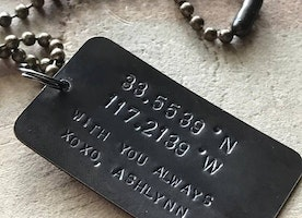 Custom coordinates brass necklace
