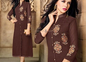 Beautiful Top-Graded Brown Front Slit Cut Embroidered Kurti