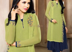 Enchanting Green Blue Trendy Designer Top-Quality Stitched Kurti