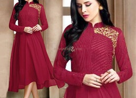 Excellent Appealing Design Of Turtle Neck Maroon Stylish Kurti