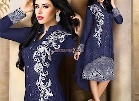 Glamorous Blue C-Cut Ready For Wear High Necked Appealing Kurti