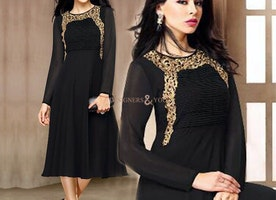 Influential Natural Black Frock Type Georgette Kurti For Party