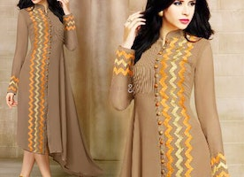 Lovely Beige Up Down Kurti With Artistic Mandarin Collar Design