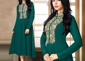 Modish Green Colored Good Looking Asymmetric Kurti With Embroidery