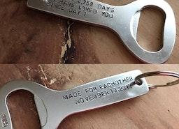 Custom Anniversary bottle opener keychain
