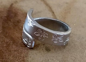 Wide silver wrap ring
