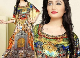 Attractive Multicolor Kaftan Dress For Casual Wear With Round Neck