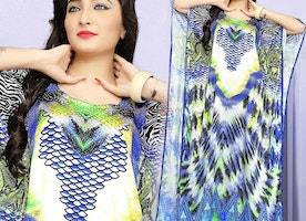 Awe-Inspiring Designer Printed Satin Caftan With Breathtaking Look