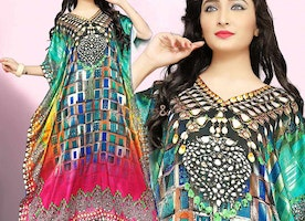 Awesome Digital Printed V-Necked Caftan Gown With Kimono Sleeves