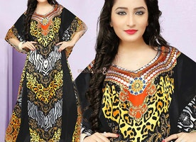 Modern Styles Colorful Printed Caftan Online For Classy Appearance