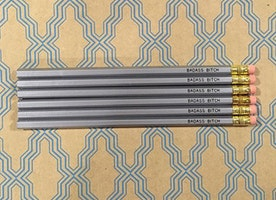 Bad*ss B*tch Pencil Set in Silver