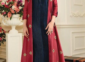 Prepossessing Lush Red Blue Ready-Made Designer Long Cotton Kurti