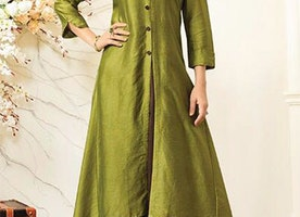 Prestigious Light Green Brown Tailored Modern Looking Cotton Kurti