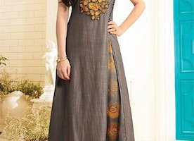 Refreshing Brown Stitched Modern Long Art Silk Kurti For Party