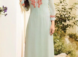 Remarkable Glowing Green Ready To Wear Long Latest Fashion Kurti