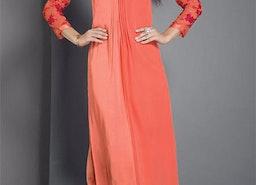 Vibrant Peach Orange Tailored Different Style Kurti For Gathering