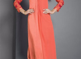 Vibrant Peach Orange Tailored Different Style Kurti For Gathering