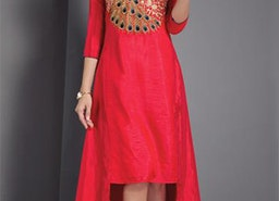 Posh Appealing Red Stitched Art Silk Designer Kurti For Party