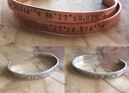 Copper or silver custom coordinates cuff